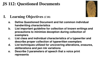 JS 112: Questioned Documents