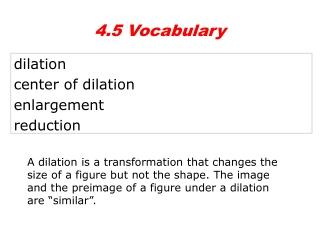dilation center of dilation enlargement reduction