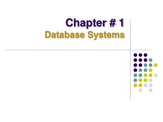 Chapter # 1 Database Systems