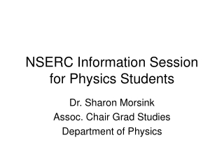 NSERC Information Session for Physics Students