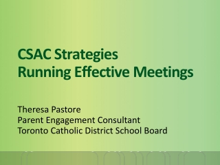 CSAC Strategies Running Effective Meetings