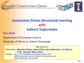 Constraints Driven Structured Learning with  Indirect Supervision