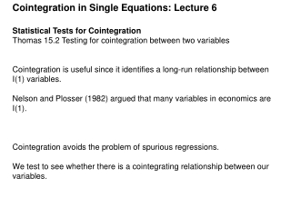 Cointegration in Single Equations: Lecture 6