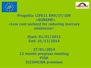 Progetto : LIFE11 ENV/IT/109   «SOREME» « Low cost sorbent for reducing mercury emissions »