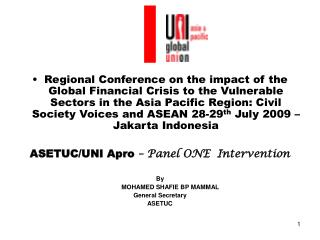 Regional Conference on the impact of the Global Financial Crisis to the Vulnerable Sectors in the Asia Pacific Region: C