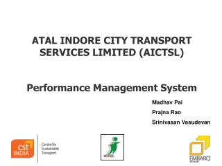 ATAL INDORE CITY TRANSPORT SERVICES LIMITED (AICTSL) Performance Management System