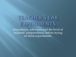 Teacher's Lab Experiments