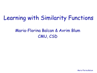 Learning with Similarity Functions