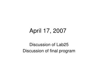 April 17, 2007
