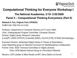 Computational Thinking for Everyone Workshop I