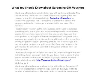 What You Should Know about Gardening Gift Vouchers