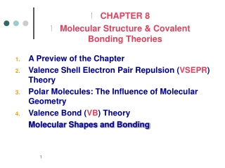 A Preview of the Chapter Valence Shell Electron Pair Repulsion ( VSEPR ) Theory
