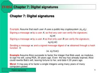 Chapter 7: Digital signatures