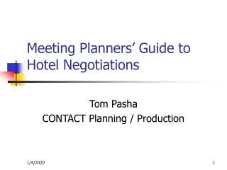 Meeting Planners' Guide to Hotel Negotiations
