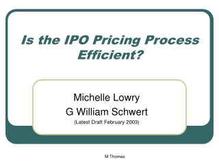 Is the IPO Pricing Process Efficient?