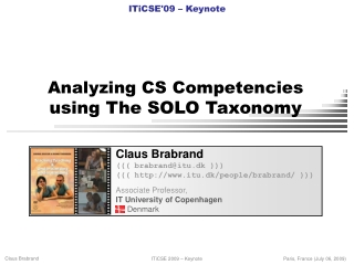 Analyzing CS Competencies using The SOLO Taxonomy