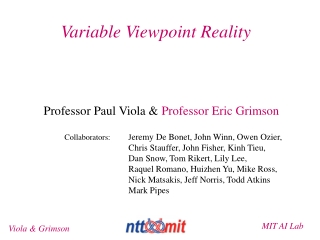 Variable Viewpoint Reality