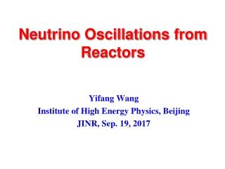 Neutrino Oscillations from Reactors