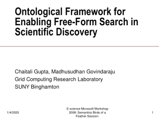 Ontological Framework for Enabling Free-Form Search in Scientific Discovery