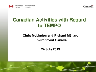 Canadian Activities with Regard to TEMPO
