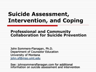 Suicide Assessment, Intervention, and Coping