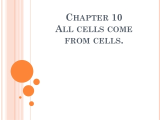 Chapter 10 All cells come from cells.