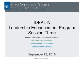 IDEAL-N  Leadership Enhancement Program Session Three