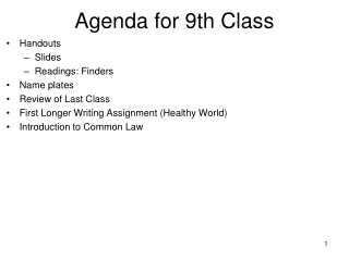 Agenda for 9th Class