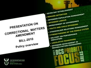 PRESENTATION ON   CORRECTIONAL  MATTERS AMENDMENT  BILL-2010 Policy overview