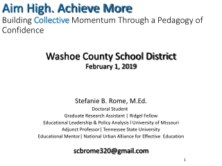 Aim High. Achieve More Building  Collective  Momentum Through a Pedagogy of Confidence