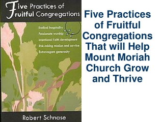 Five Practices of Fruitful  Congregations That will Help Mount Moriah Church Grow and Thrive