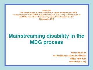 Maria Martinho United Nations Statistics Division DESA, New York martinho@un