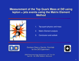 Top quark physics and mass Matrix Element analysis Conclusion and outlook