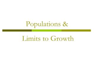 Populations &