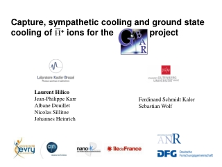 Capture, sympathetic cooling and ground state cooling of  H +  ions for the               project