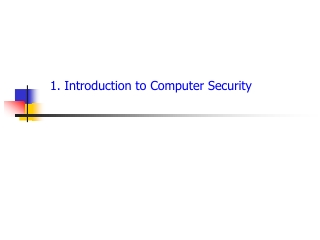 1. Introduction to  Computer  Security