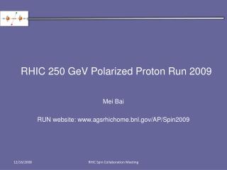 RHIC 250 GeV Polarized Proton Run 2009