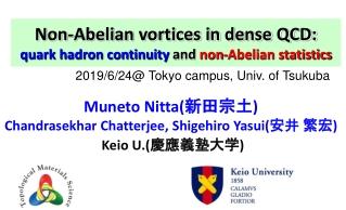 Non-Abelian vortices in dense QCD:  quark hadron continuity  and  non-Abelian statistics