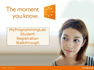 MyProgrammingLab Student Registration Walkthrough