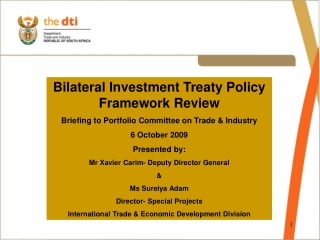 Bilateral Investment Treaty Policy Framework Review