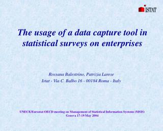 The usage of a data capture tool in statistical surveys on enterprises