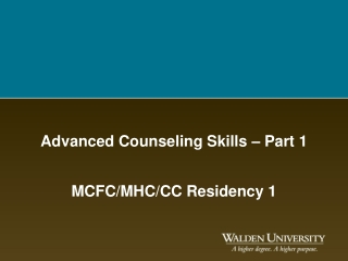 Advanced Counseling Skills – Part 1