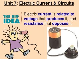 Unit 7 :  Electric Current & Circuits