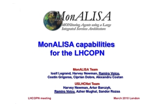 MonALISA  Team Iosif Legrand , Harvey Newman,  Ramiro  Voicu ,