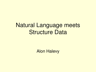Natural Language meets Structure Data