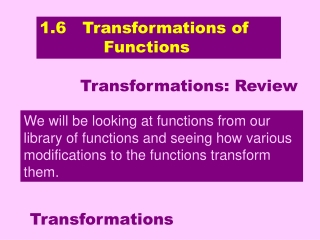 1.6   Transformations of             Functions