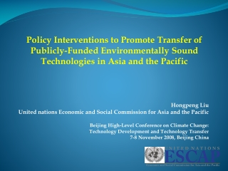 Hongpeng Liu United nations Economic and Social Commission for Asia and the Pacific