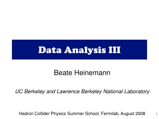 Data Analysis III