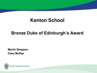 Kenton School Bronze Duke of Edinburgh's Award Martin Simpson Clare McRae