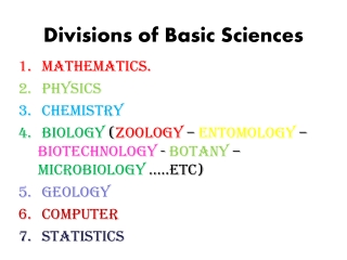 Divisions of Basic Sciences